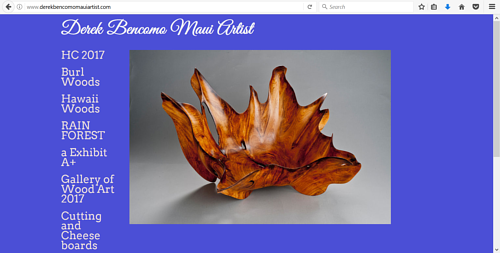 A screen capture of Derek Bencomo's art website