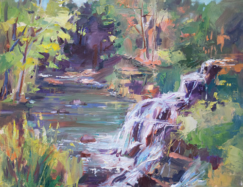 A painting of a waterfall using bright colors
