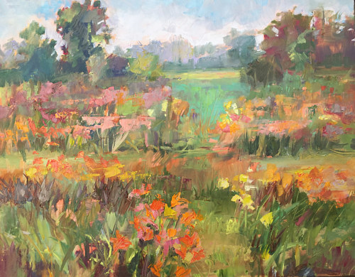 A plein air painting of a flowery meadow