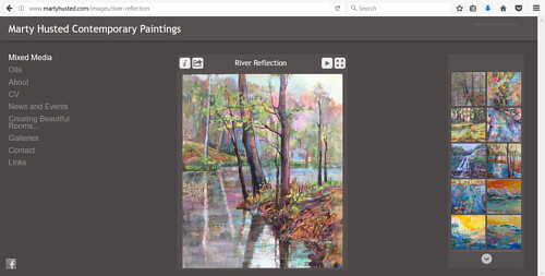 A screen capture of a gallery on Marty Husted's art website