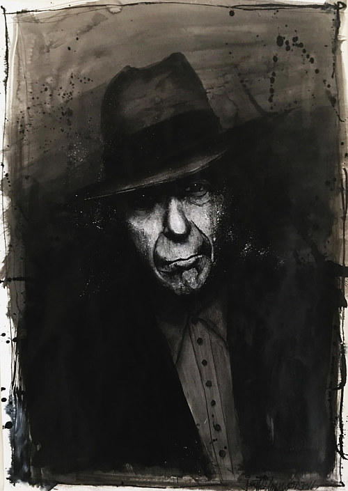 A heavily shadowed portrait of Leonard Cohen