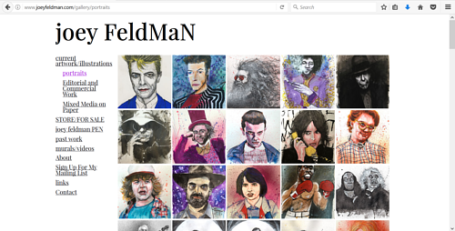 Joey Feldman's gallery of portraits on his art website