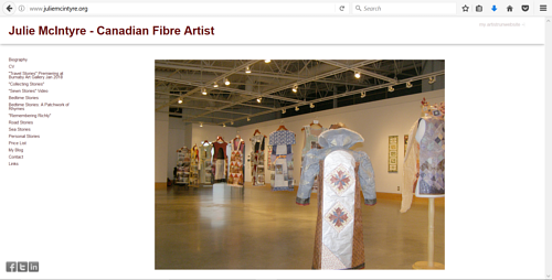 The front page of Julie McIntyre's art website