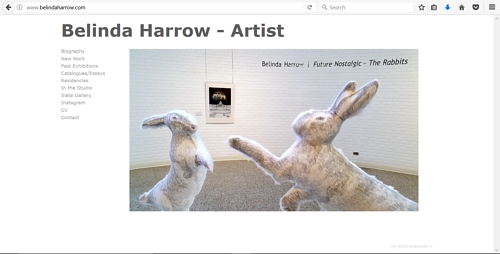 A screen capture of Belinda Harrow's art website