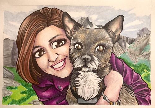 A commissioned drawing of a woman and a dog