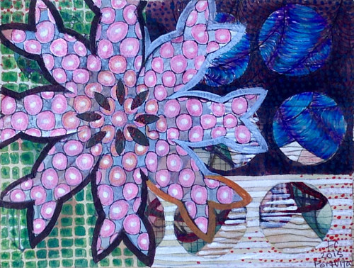 A drawing of an abstracted flower-like strcuture
