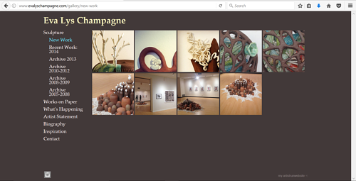 A screen capture of Eva Lys Champagne's art website