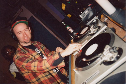 A photo of a guest DJ at a venue in the 90's