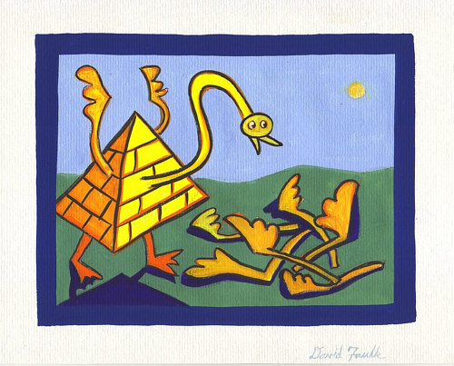 A painting of a combination bird and pyramid figure