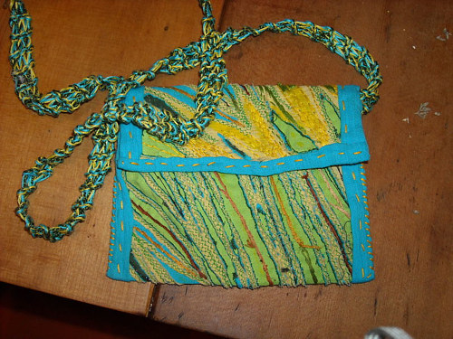 A handmade purse created from scraps of fabric
