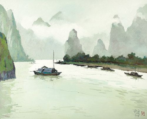 A painting of a setting on a Chinese river