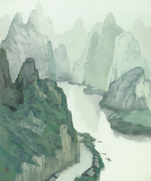A painting of misty mountains surrounding a river