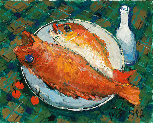 A painting of two orange fish on a plate