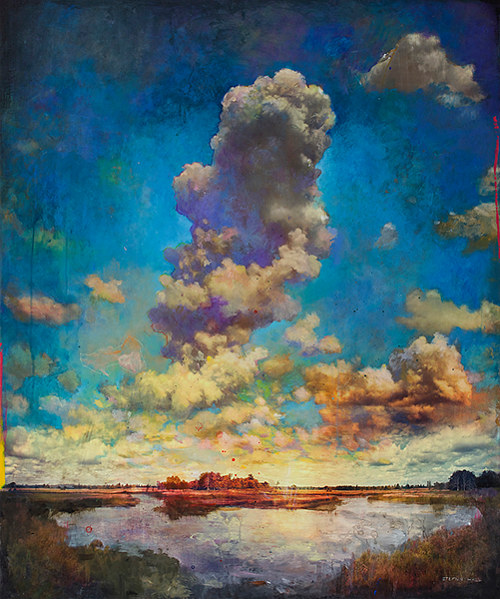 A painting of clouds rising over a blue sky