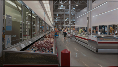 A painting of a Costco interior