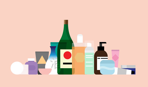 An illustration of various product bottles on a neutral background