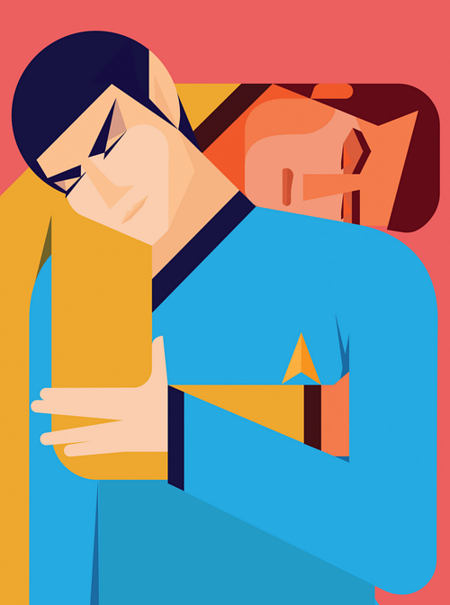 A digital artwork depicting Kirk and Spock from Star Trek