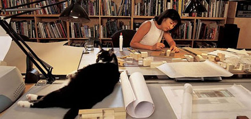 A photo of Maya Lin at work in her home studio