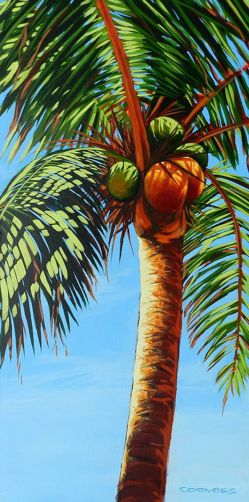 Painting of coconut tree with coconuts