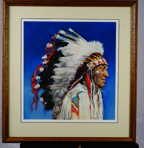 A painting of a First Nations man in traditional dress