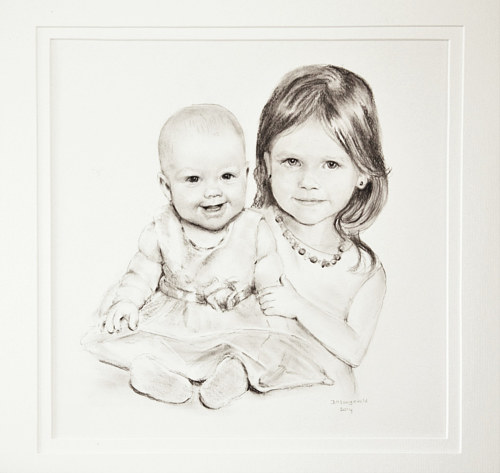 A black and white drawing of two young children