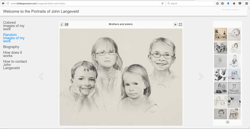 A screen capture of a gallery on John Langeveld's art website