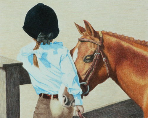 A pencil crayon drawing of a horse and an equestrian