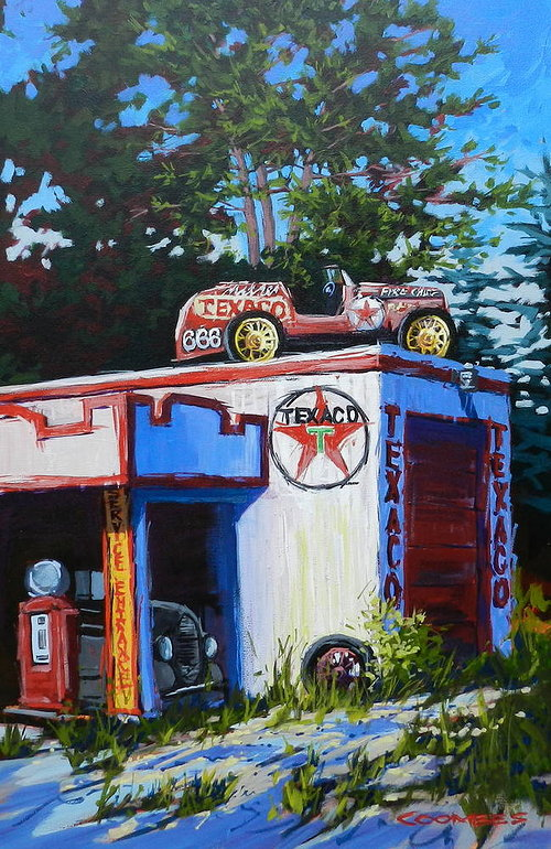 Painting of old car on roof of garage next to trees