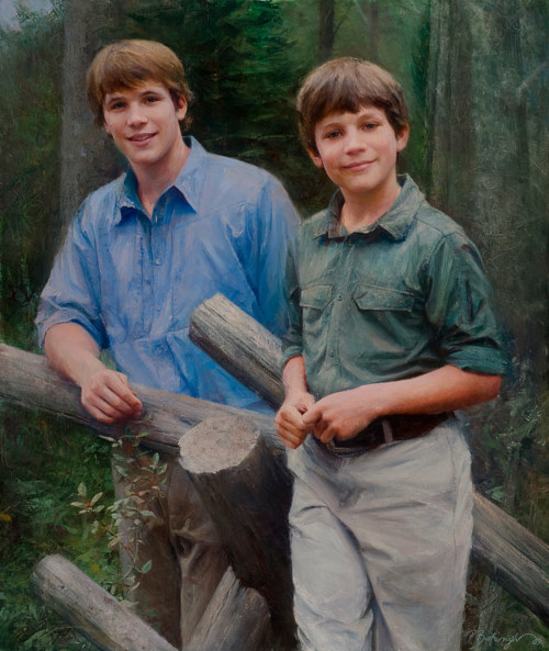 An oil painting of two young men standing in the woods