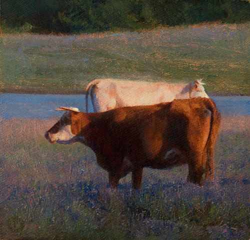 An oil painting of cattle grazing in a field