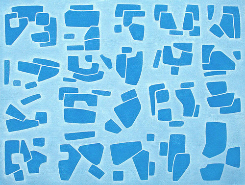 A painting consisting of dark blue shapes on a light blue background