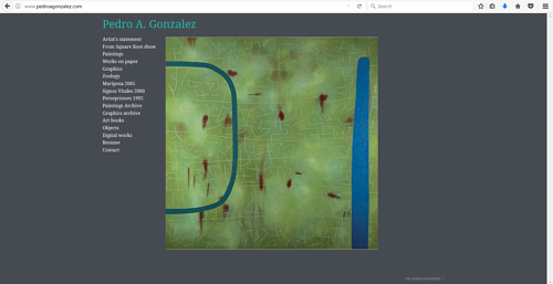 A screen capture of Pedro Gonzales' art website