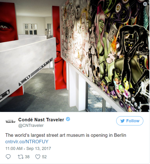 A Conde Nast traveller Instagram post about the new Street Art Museum in Berlin