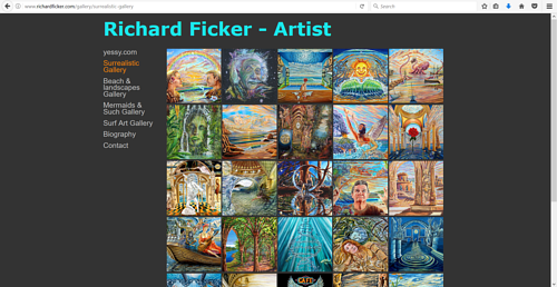 A screen capture of Richard Ficker's online art portfolio