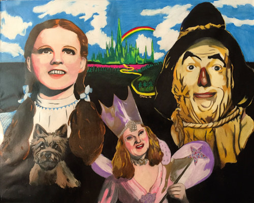 A pencil crayon drawing of characters from the Wizard of Oz