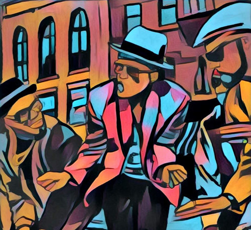 A colorful painting depicting a scene from Bruno Mars' Uptown Funk music video