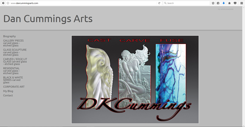 The front page of Dan Cummings' art website