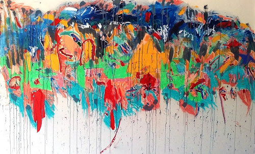 An abstract work made with thin, running paints