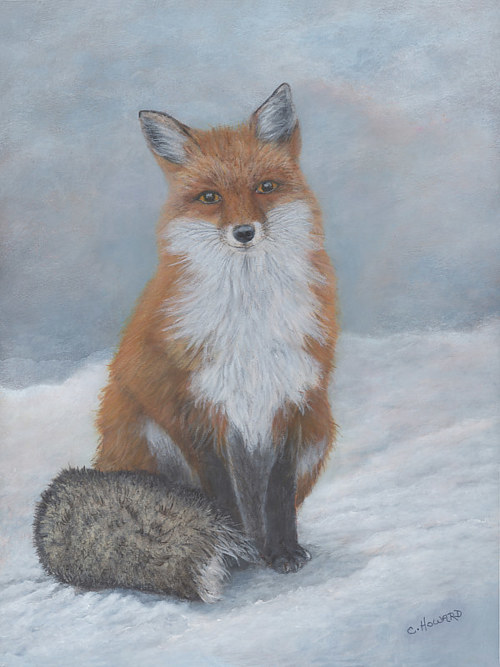 An acrylic painting of a fox in the snow