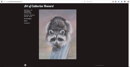 A screen capture of Catherine Howard's painting website