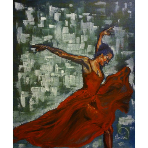 A painting of a woman dancing in a red dress