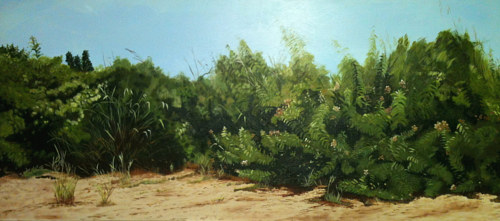 A painting of shrubbery along a beach
