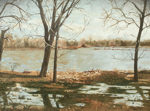 A painting of a river with trees
