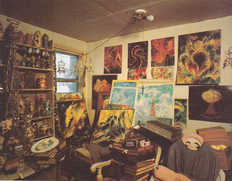A photo of the interior of Eugene Von Bruenchenhein's art studio