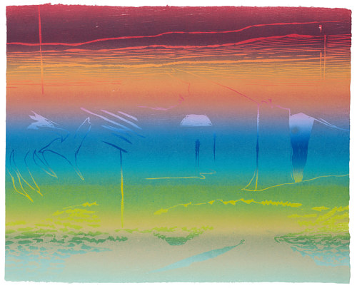 A rainbow-colored woodcut print on Japanese paper