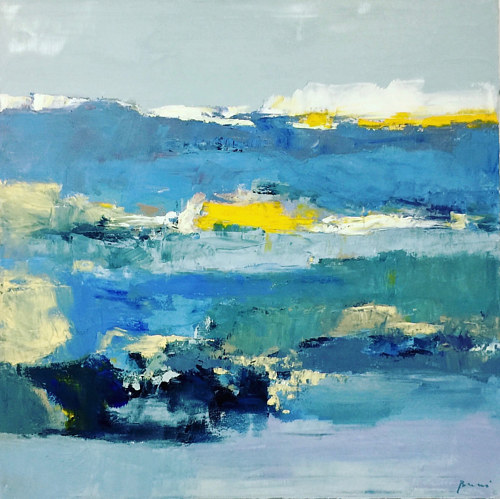 A blue abstract painting with yellow highlights