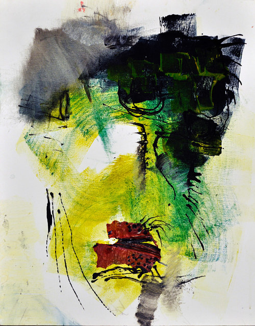An abstracted portrait with green tones