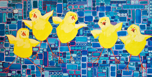 A painting of some cartoon chickens on a blue background