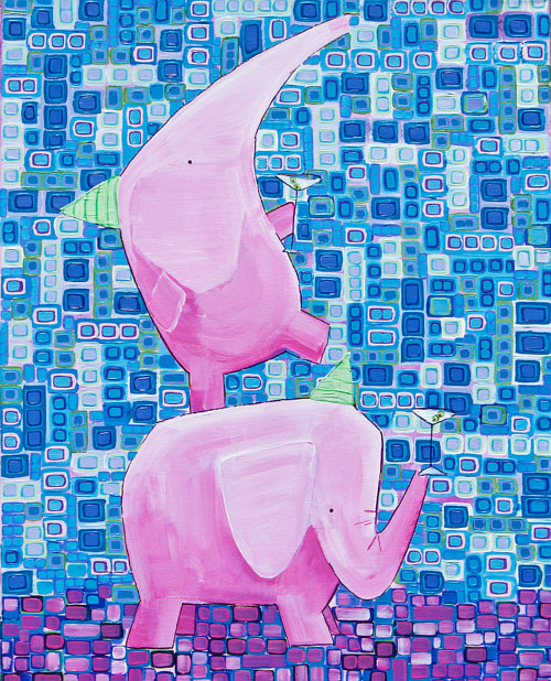 A painting of two pink elephants holding martinis
