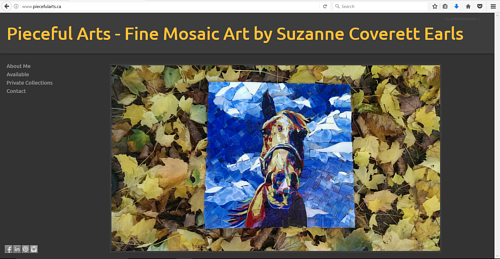 A screen capture of the front page of Suzanne Coverette Earls' art website
